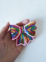 Rainbow sequin hair bow clip - in stock