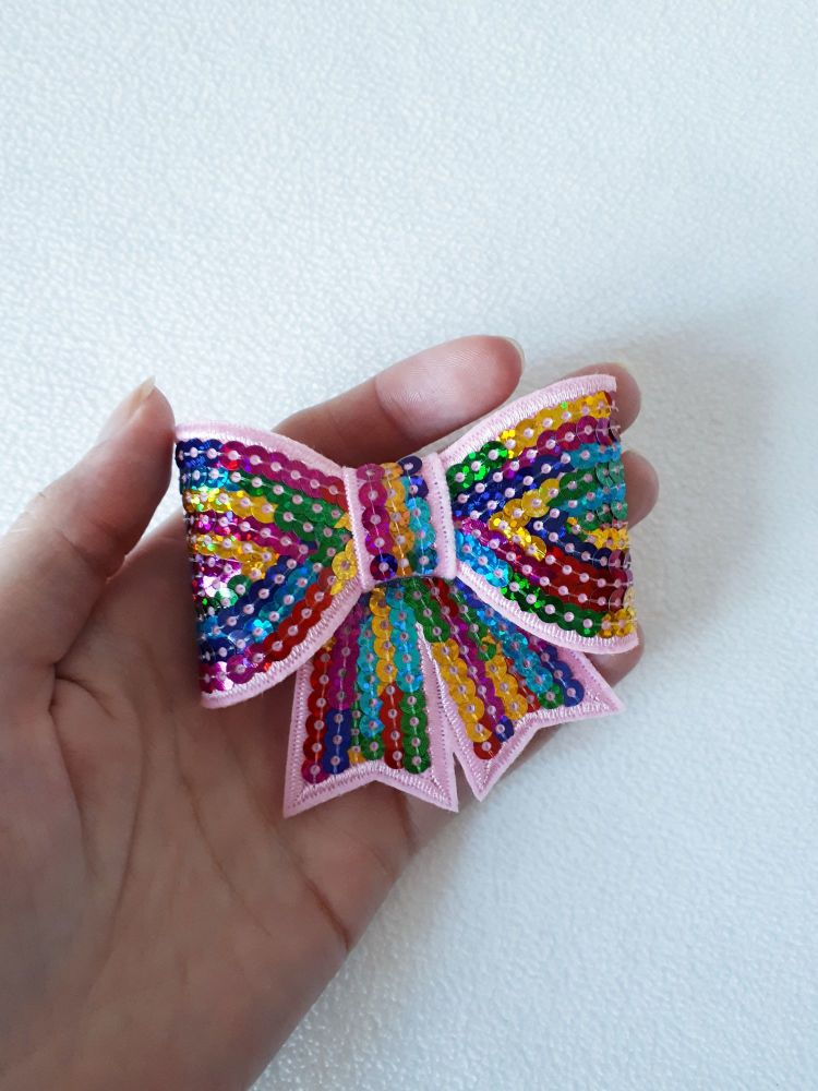 Rainbow sequin hair bow clip