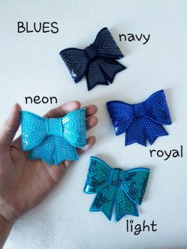 Blue shades - sequin hair bow - in stock
