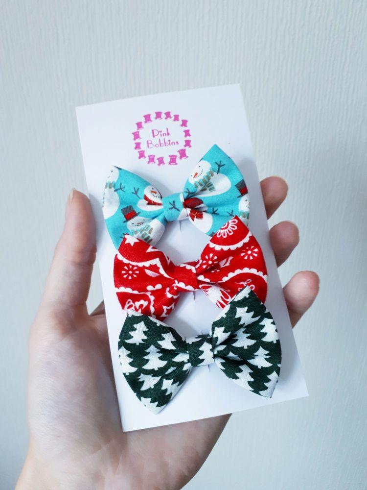 Christmas hair bow set