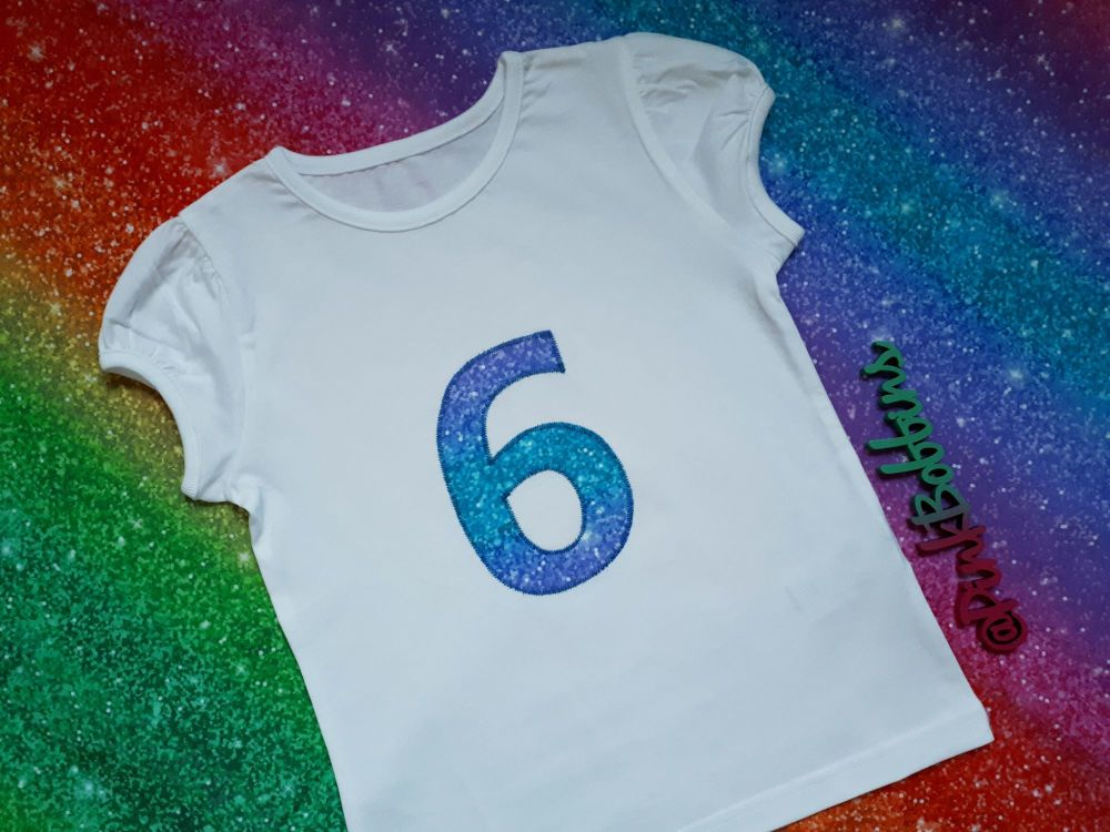 Girl's birthday t-shirt - sparkly design - any number!