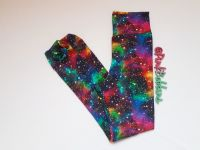 Rainbow galaxy leggings with optional bow cuffs - made to order