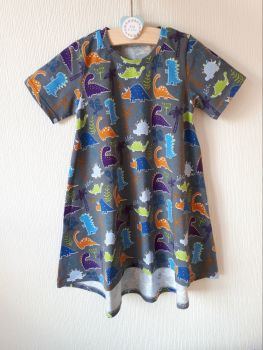 Grey dinosaur t-shirt dress - made to order