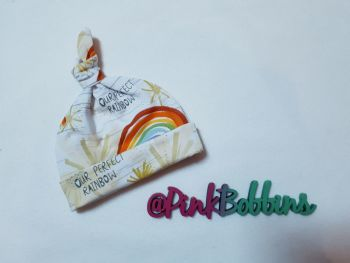 Rainbow baby knot hat - made to order