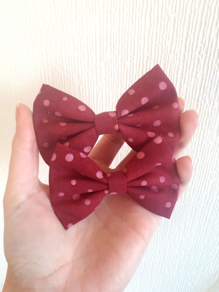 Burgundy polka dot hair bow *LAST ONES!*