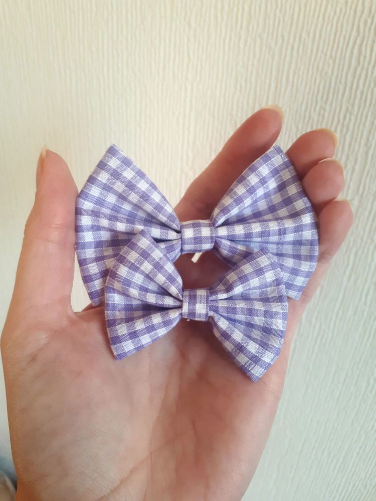 Lilac gingham hair bow - mini, midi or large size