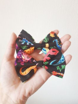 Dinosaur (black) hair bow - mini, midi or large size
