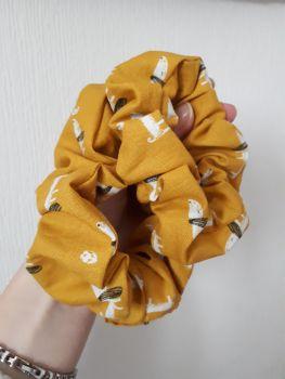 Mustard dachshund scrunchie