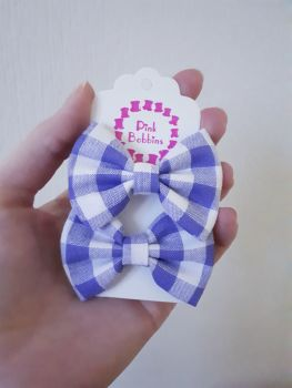 Mini bow bobbles - purple gingham - in stock