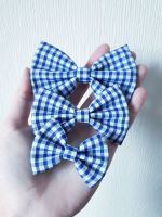 Royal blue gingham hair bow - mini, midi or large size