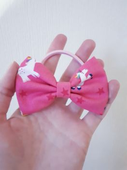 Midi bow bobble - pink unicorns