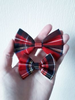 Tartan (red) hair bow clip - in stock