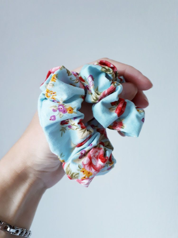 Summer blue floral scrunchie