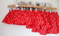 Love heart skirt on red - in stock