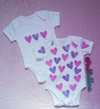 Heart block printed bodysuit vests - unique design - 3-6 months