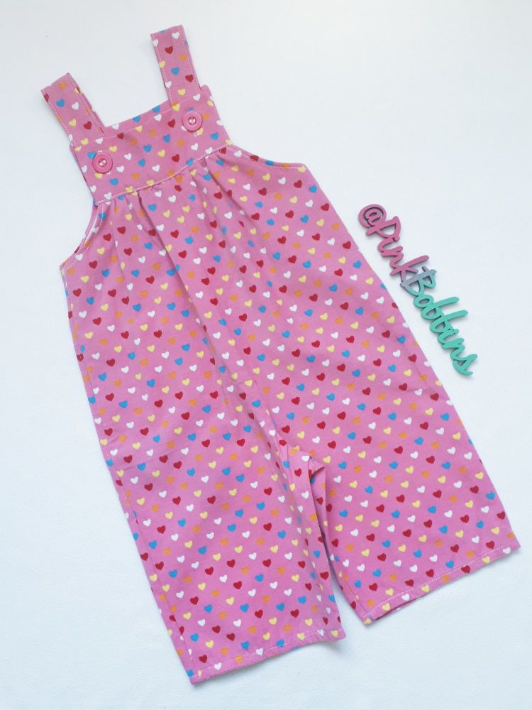 Pink heart babycord dungarees [NOT QUITE PERFECT: 3-6 months. 50% OFF!]