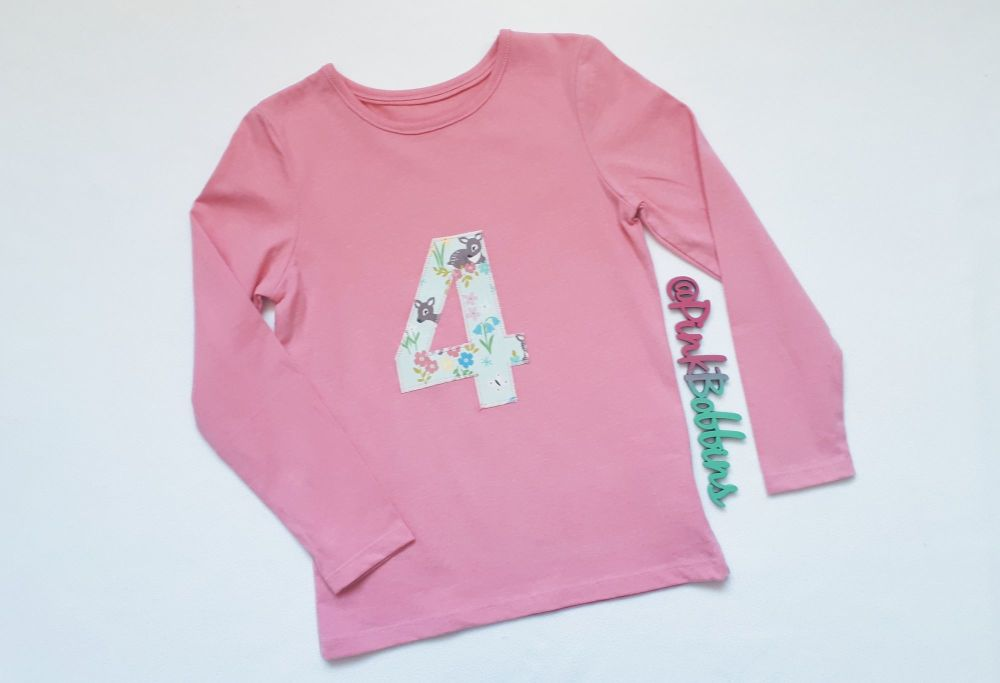 Deer '4' birthday top (pink long sleeves) - Age 4-5 *IN STOCK*