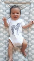 Zebra block printed bodysuit vest - made to order
