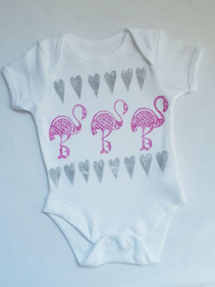 Flamingo block printed bodysuit vest [NOT QUITE PERFECT: NEWBORN - 50% OFF]