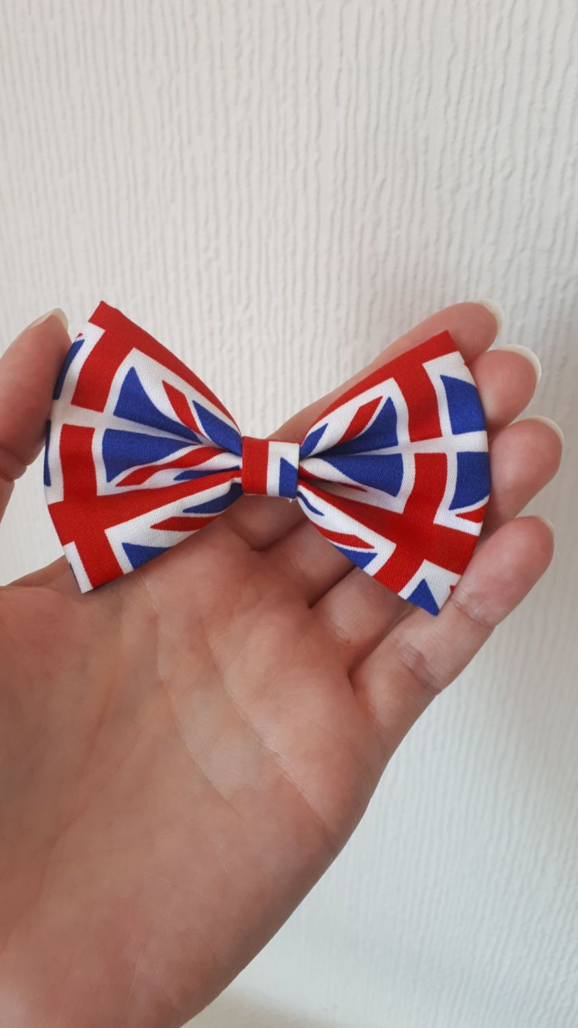 Union Jack hair bow clip
