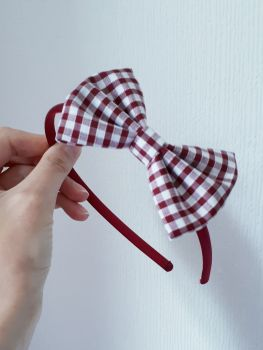 Maroon gingham bow hairband - made to order