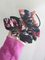 Hair tie - black floral - in stock