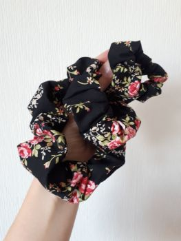 Black floral scrunchie - in stock