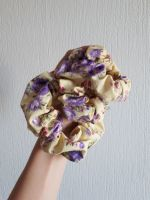Lilac floral on yellow scrunchie - in stock