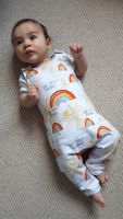 Rainbow baby jersey romper - made to order