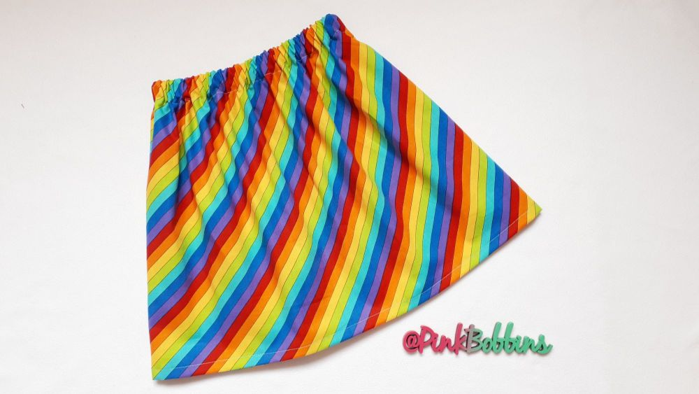 Rainbow stripe skirt - made to order