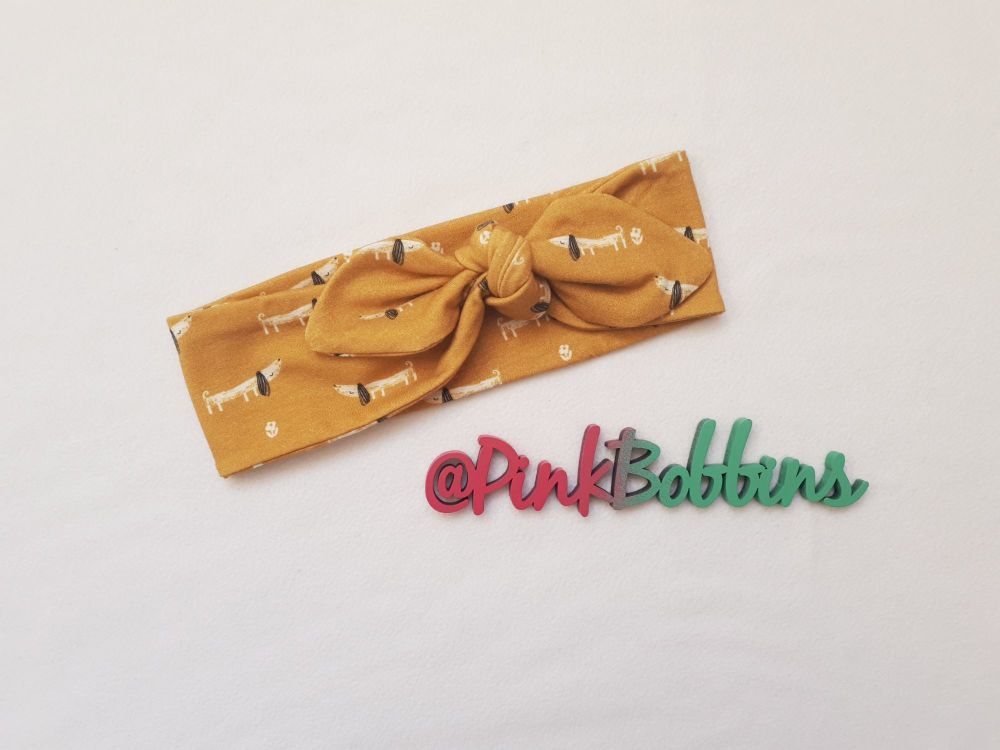 Dachshund stretchy headband - made to order