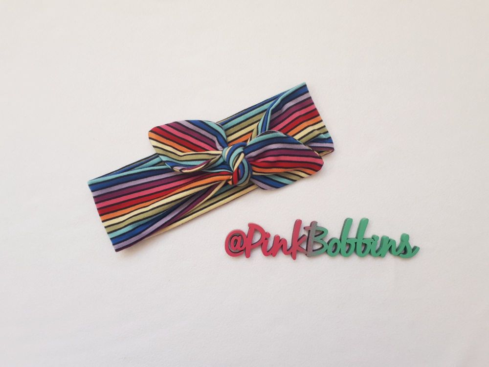 Rainbow stripe stretchy headband - made to order