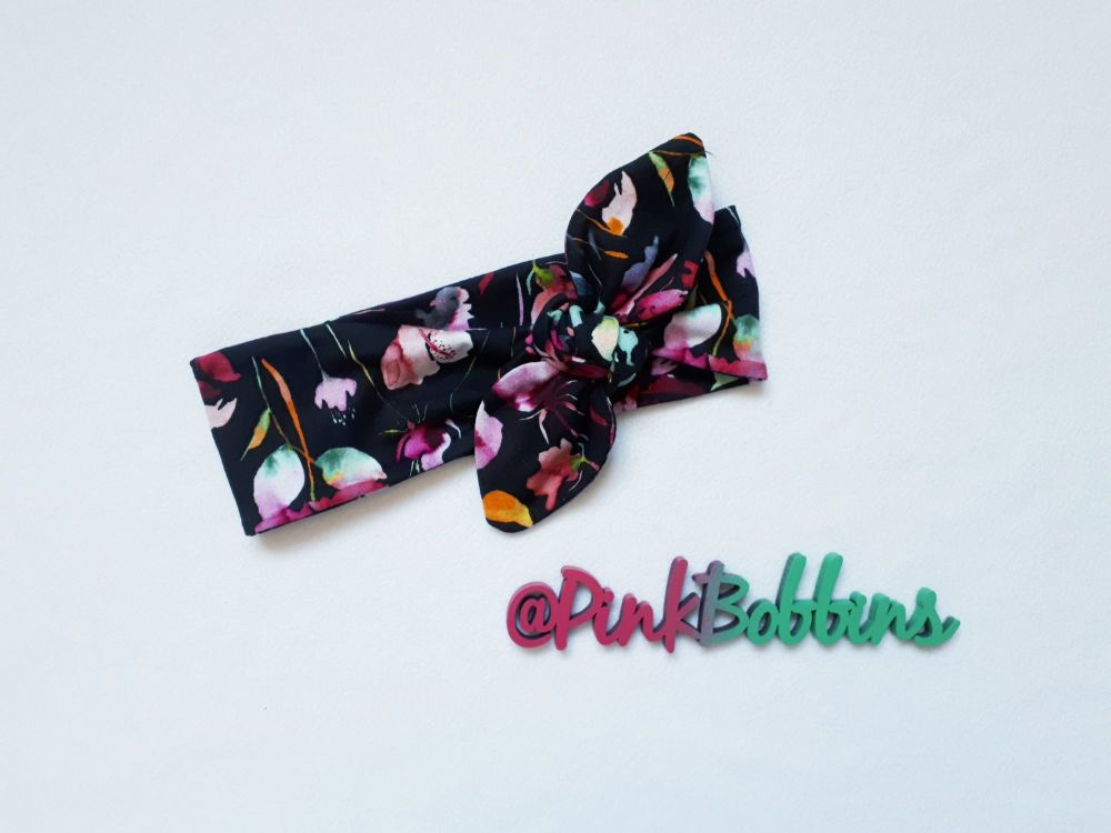 Floral (black) stretchy headband - made to order