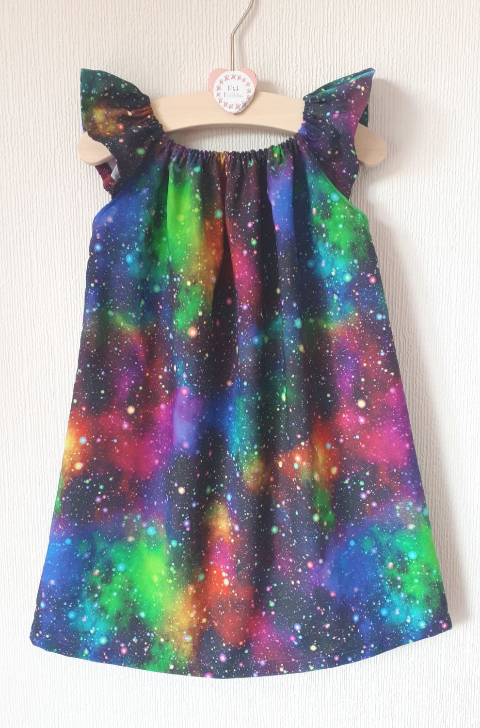 Galaxy angel sleeve dress - made to order