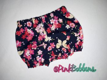 Navy floral butterfly bloomers - made to order