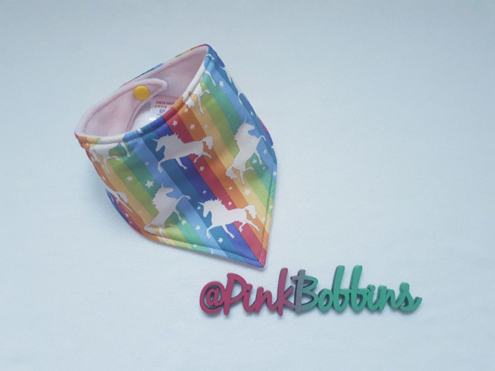 Rainbow unicorn dribble bib - made to order