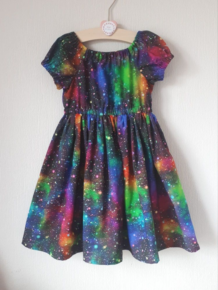 Galaxy (rainbow) twirly dress - made to order