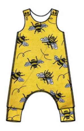 Bees on yellow jersey romper - short or long leg - made to order