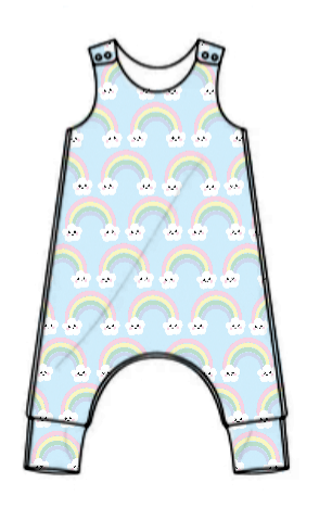 Kawaii rainbows jersey romper - short or long leg - made to order [exclusiv