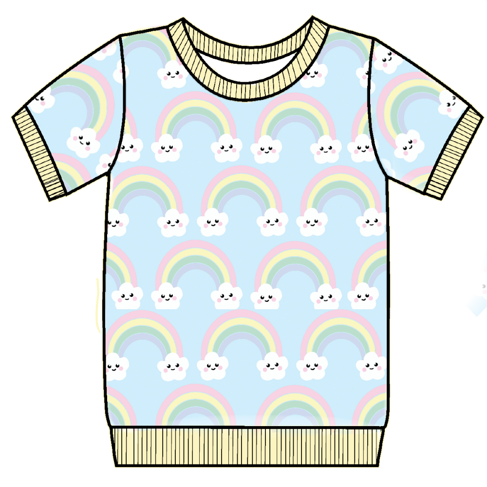 Kawaii rainbows jersey cuffed tee (short or long sleeved) - made to order