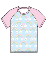 Kawaii rainbows raglan tee (short or long sleeved) - made to order