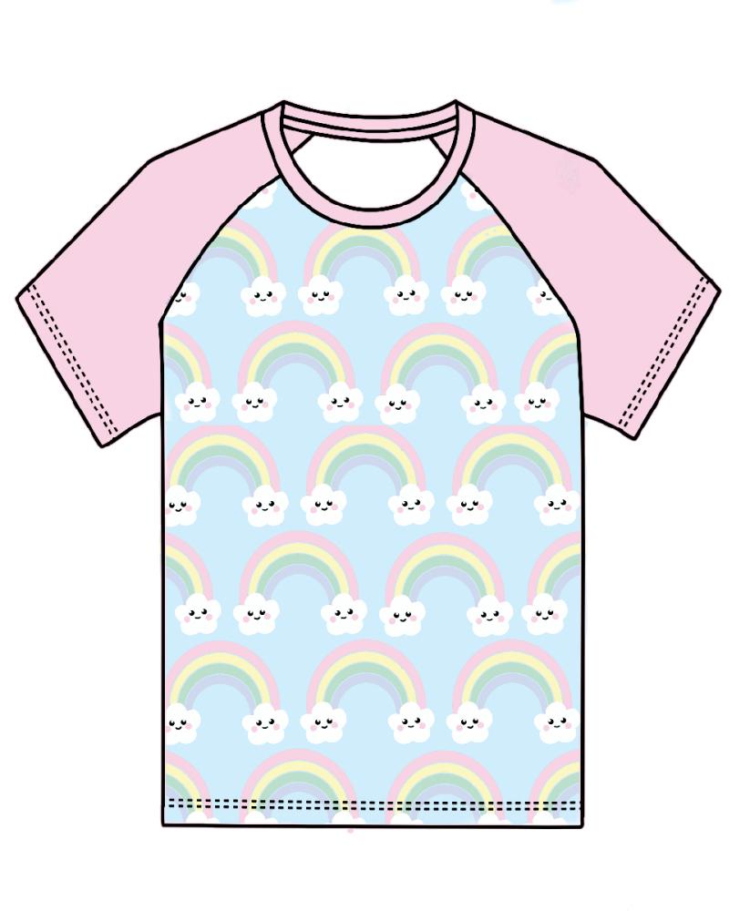 Kawaii rainbows raglan tee (short or long sleeved) - made to order