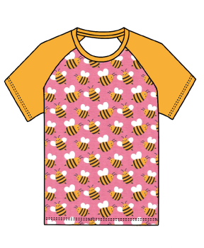 Bees on pink raglan tee (short or long sleeved) - made to order