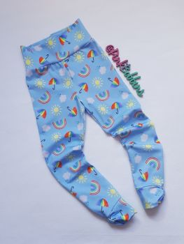 Rainbow skies leggings with optional bow cuffs [exclusive design] - made to order
