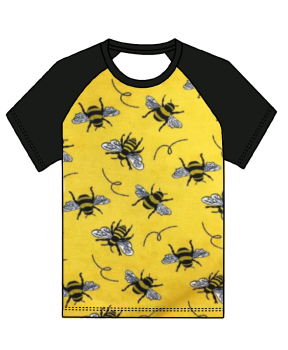Bees on yellow raglan tee (short or long sleeved) - made to order