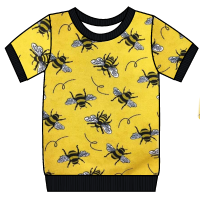 Bees on yellow cuffed tee (short or long sleeved) - made to order