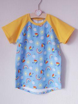 Rainbow Skies raglan tee (short or long sleeved) - made to order