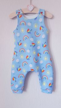 Rainbow skies jersey romper - short or long leg - made to order