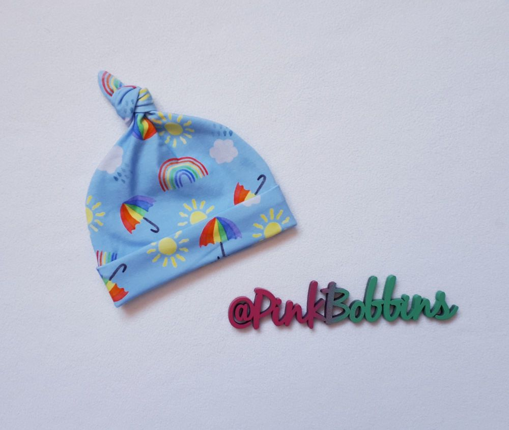 Rainbow Skies knot hat - Newborn [exclusive design] - made to order