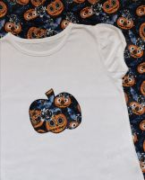 Halloween pumpkin t-shirt - girls cap sleeved top style - 3-4 years plus